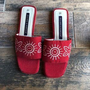Hillard & Hanson red sandals sz 9